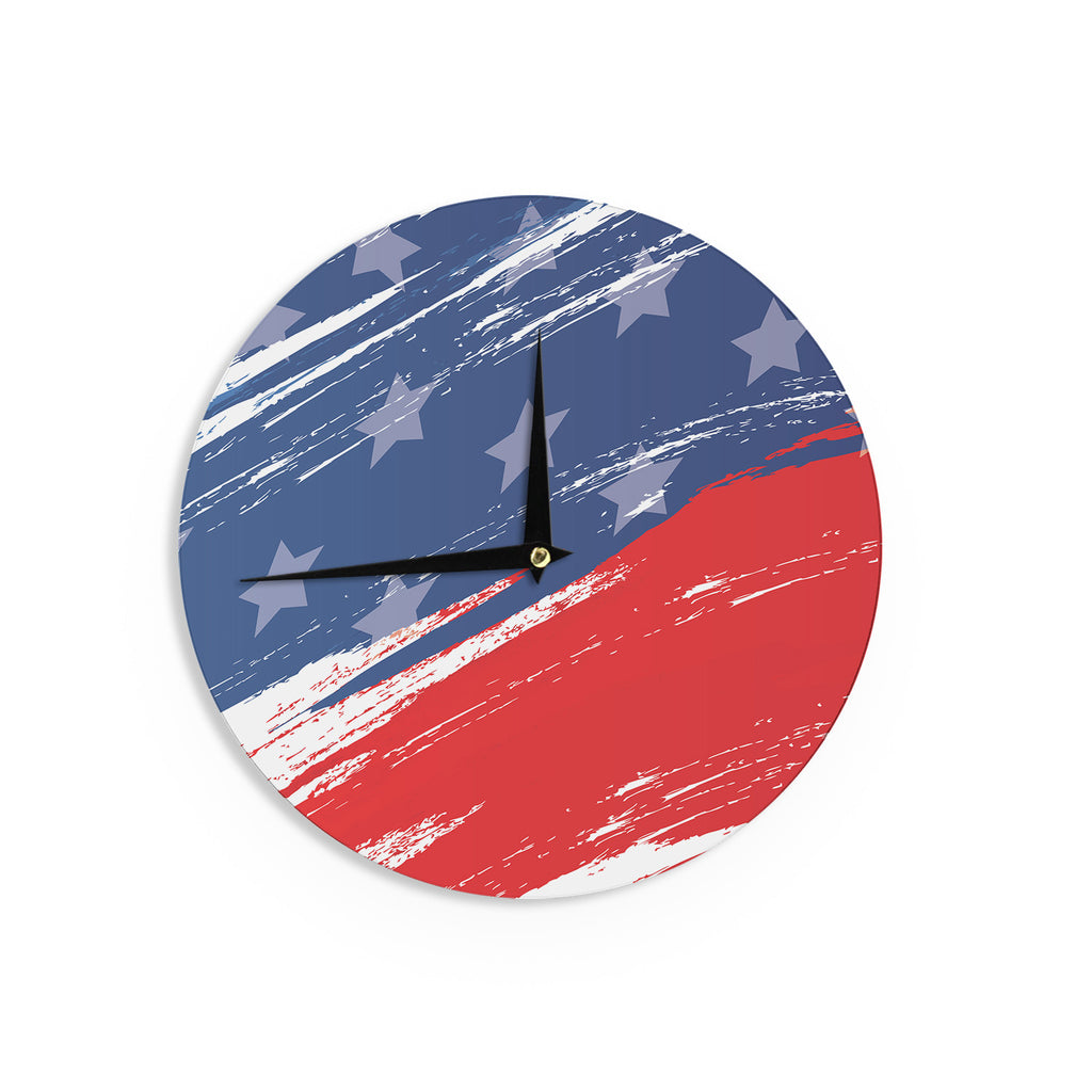 "NL designs ""Red White Blue"" Red White Wall Clock - KESS InHouse"