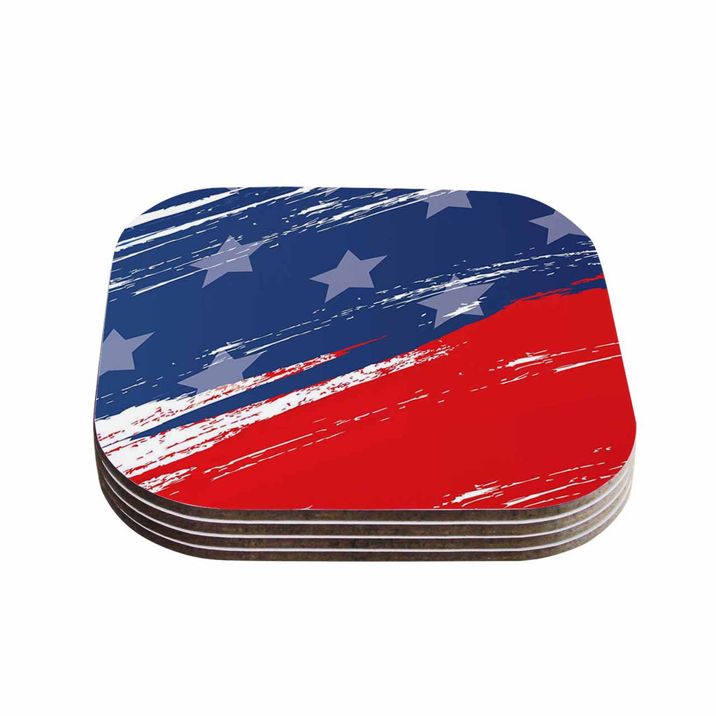 "NL designs ""Red White Blue"" Red White Coasters (Set of 4)"
