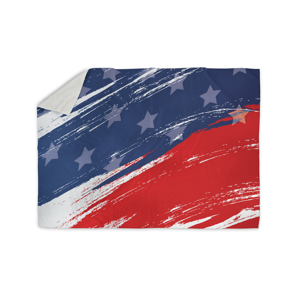 "NL designs ""Red White Blue"" Red White Sherpa Blanket - KESS InHouse  - 1"