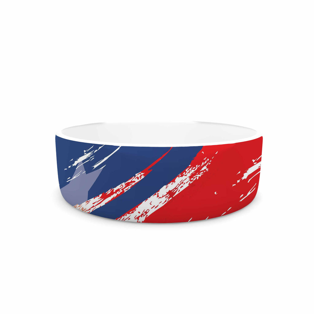 "NL designs ""Red White Blue"" Red White Pet Bowl - KESS InHouse"