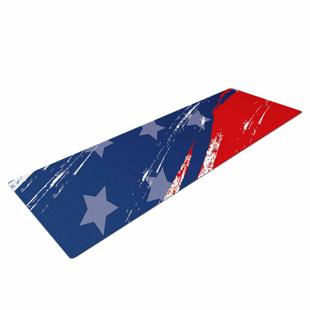 "NL designs ""Red White Blue"" Red White Yoga Mat - KESS InHouse  - 1"