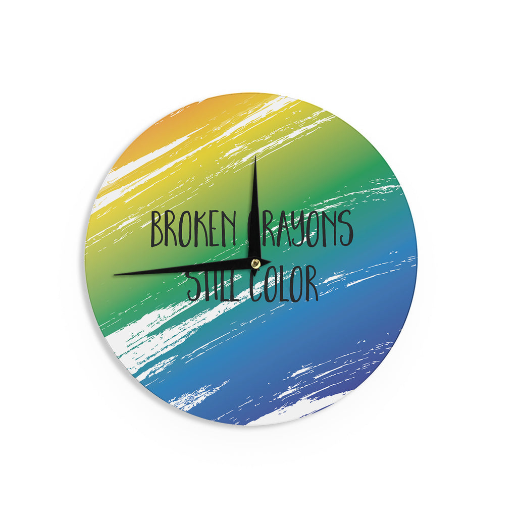 "NL designs ""Broken Crayons"" Blue Abstract Wall Clock - KESS InHouse"