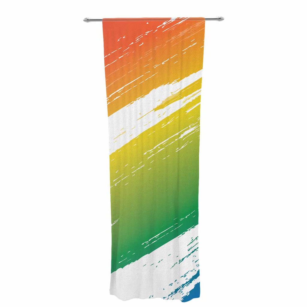 "NL designs ""Broken Crayons"" Blue Abstract Decorative Sheer Curtain - KESS InHouse  - 1"