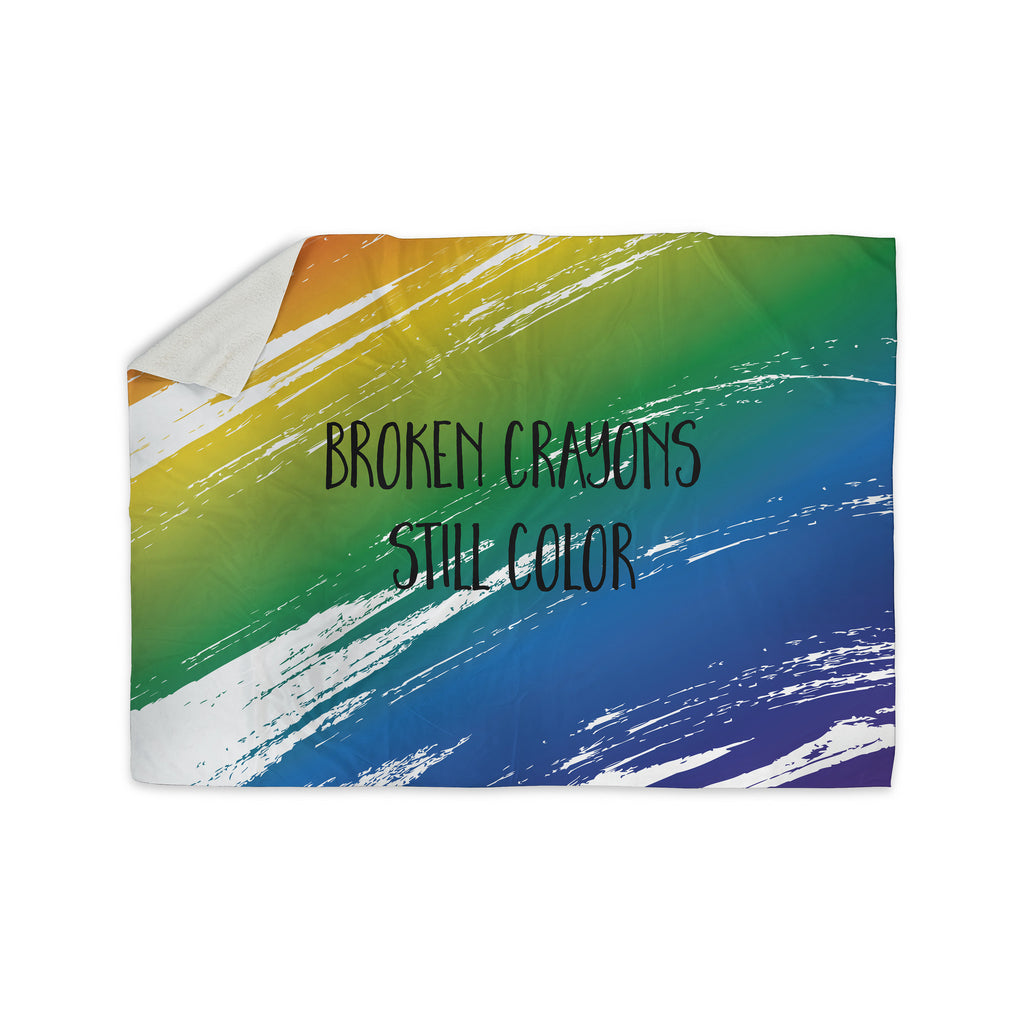 "NL designs ""Broken Crayons"" Blue Abstract Sherpa Blanket - KESS InHouse  - 1"