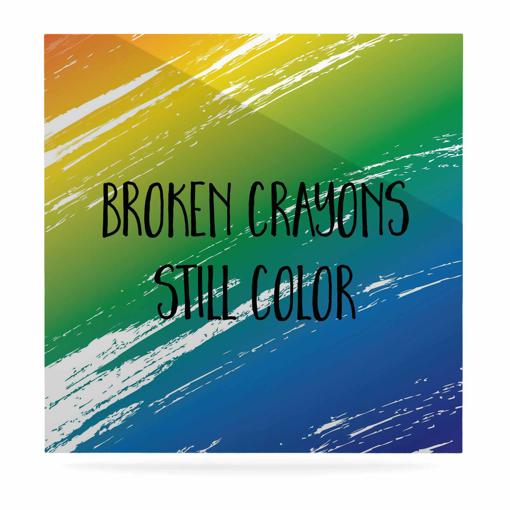 "NL designs ""Broken Crayons"" Blue Abstract Luxe Square Panel - KESS InHouse  - 1"