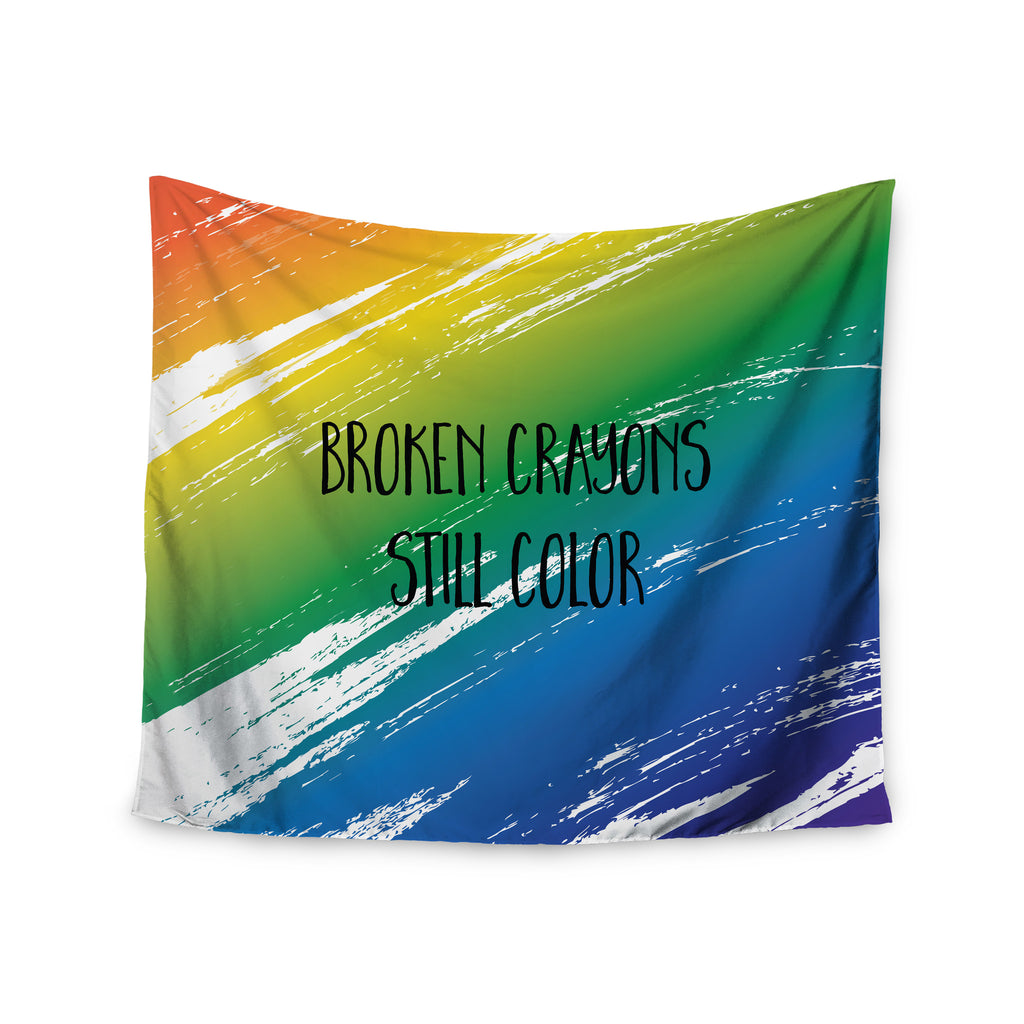 "NL designs ""Broken Crayons"" Blue Abstract Wall Tapestry - KESS InHouse  - 1"