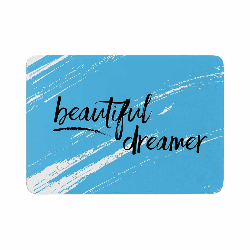 "NL designs ""Beautiful Dreamer"" Blue Typography Memory Foam Bath Mat - KESS InHouse"