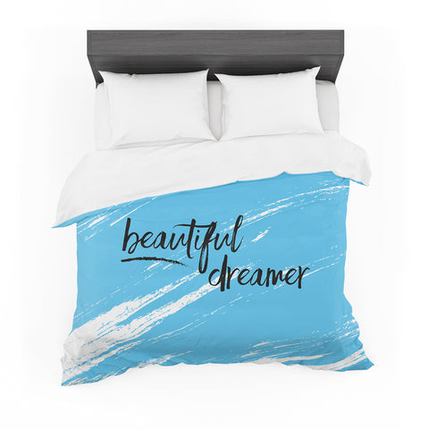 "NL designs ""Beautiful Dreamer"" Blue Typography Featherweight Duvet Cover"