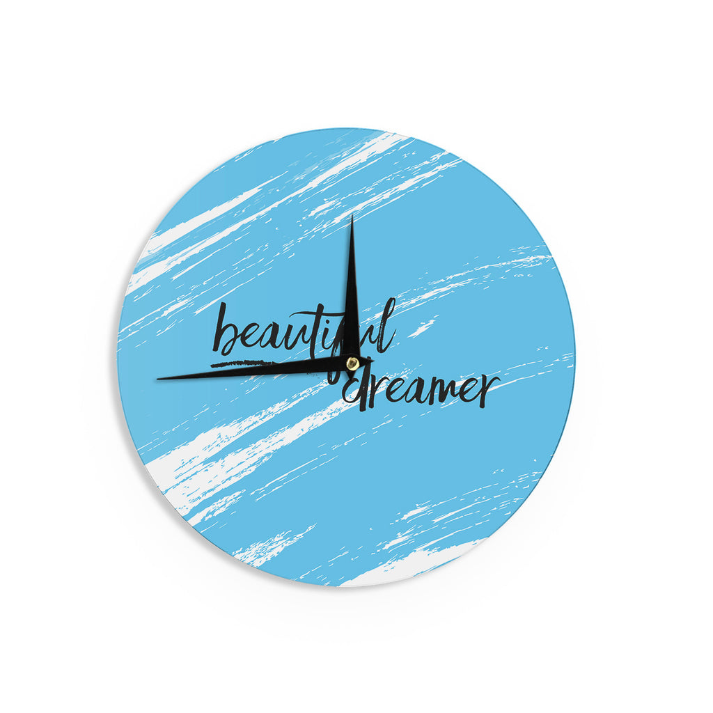 "NL designs ""Beautiful Dreamer"" Blue Typography Wall Clock - KESS InHouse"