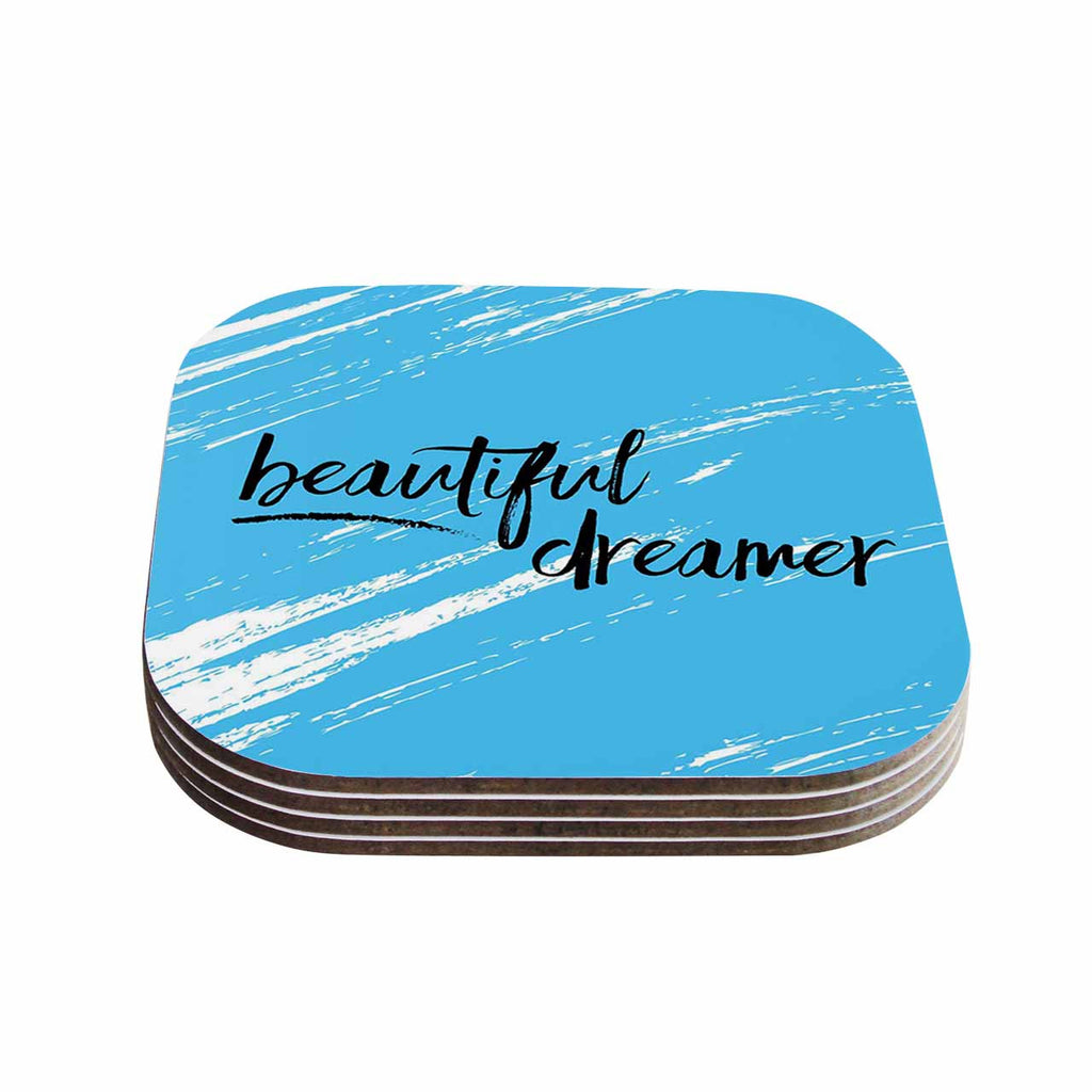 "NL designs ""Beautiful Dreamer"" Blue Typography Coasters (Set of 4)"