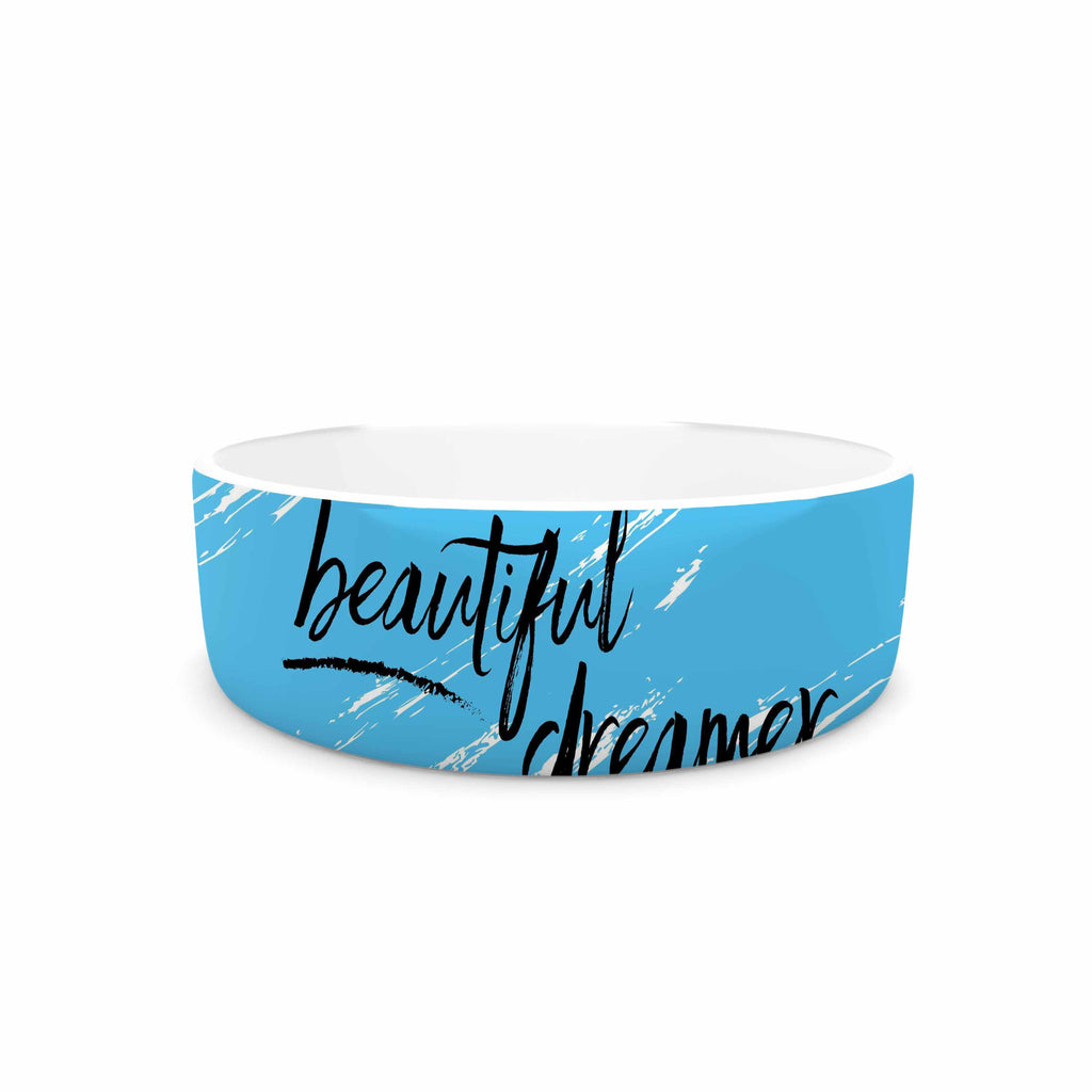 "NL designs ""Beautiful Dreamer"" Blue Typography Pet Bowl - KESS InHouse"
