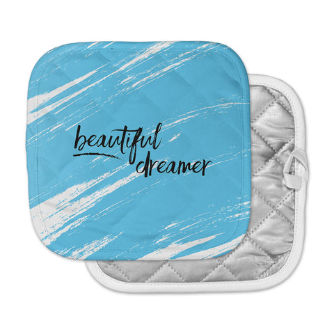 "NL designs ""Beautiful Dreamer"" Blue Typography Pot Holder"
