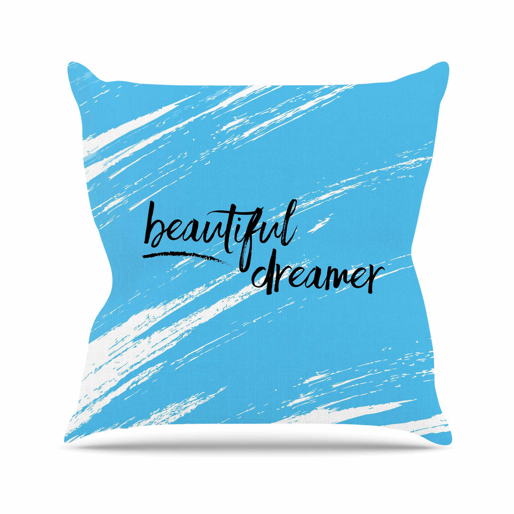 "NL designs ""Beautiful Dreamer"" Blue Typography Outdoor Throw Pillow - KESS InHouse  - 1"