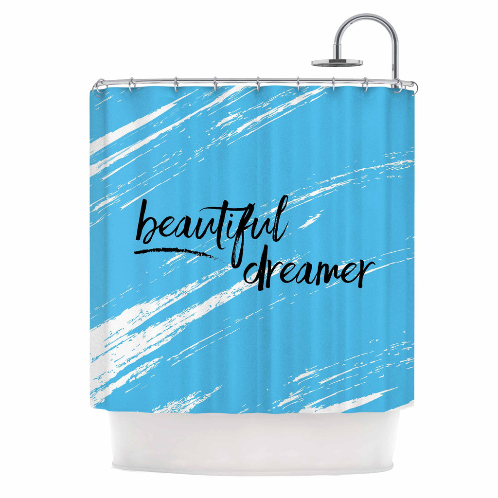 "NL designs ""Beautiful Dreamer"" Blue Typography Shower Curtain - KESS InHouse"