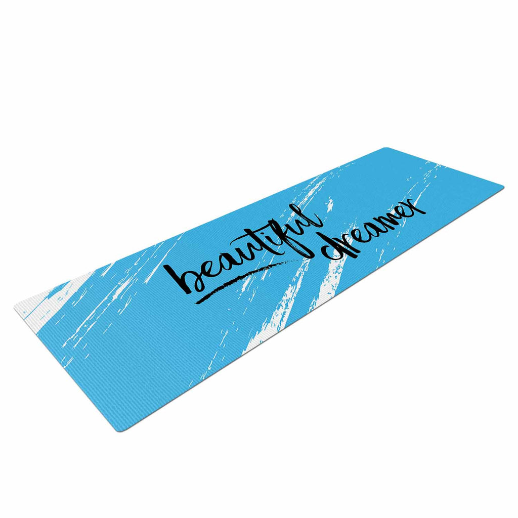 "NL designs ""Beautiful Dreamer"" Blue Typography Yoga Mat - KESS InHouse  - 1"