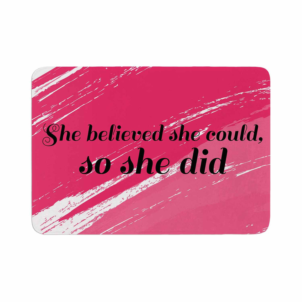 "NL designs ""She Did"" Pink Illustration Memory Foam Bath Mat - KESS InHouse"