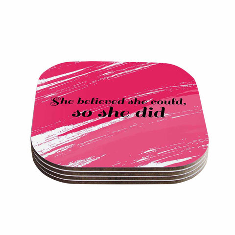 "NL designs ""She Did"" Pink Illustration Coasters (Set of 4)"