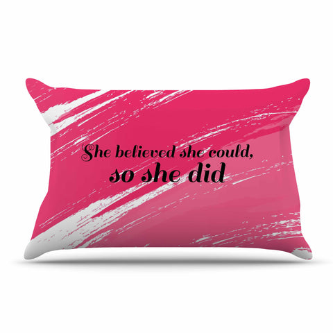 "NL designs ""She Did"" Pink Illustration Pillow Sham - KESS InHouse  - 1"