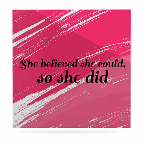 "NL designs ""She Did"" Pink Illustration Luxe Square Panel - KESS InHouse  - 1"