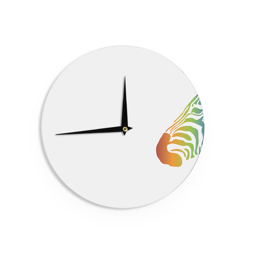 "NL designs ""Rainbow Zebra "" Multicolor Animals Wall Clock - KESS InHouse"