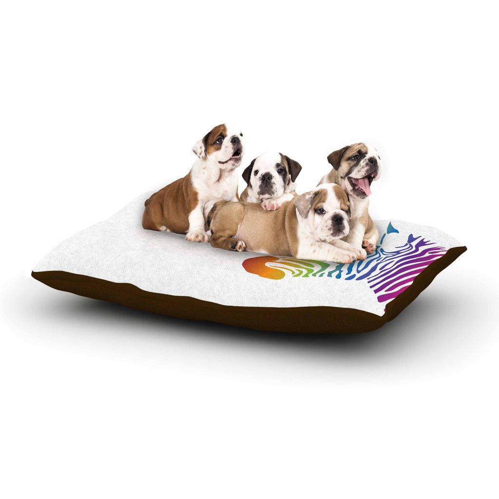 "NL designs ""Rainbow Zebra "" Multicolor Animals Dog Bed - KESS InHouse  - 1"