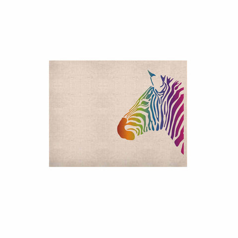 "NL designs ""Rainbow Zebra "" Multicolor Animals KESS Naturals Canvas (Frame not Included) - KESS InHouse  - 1"