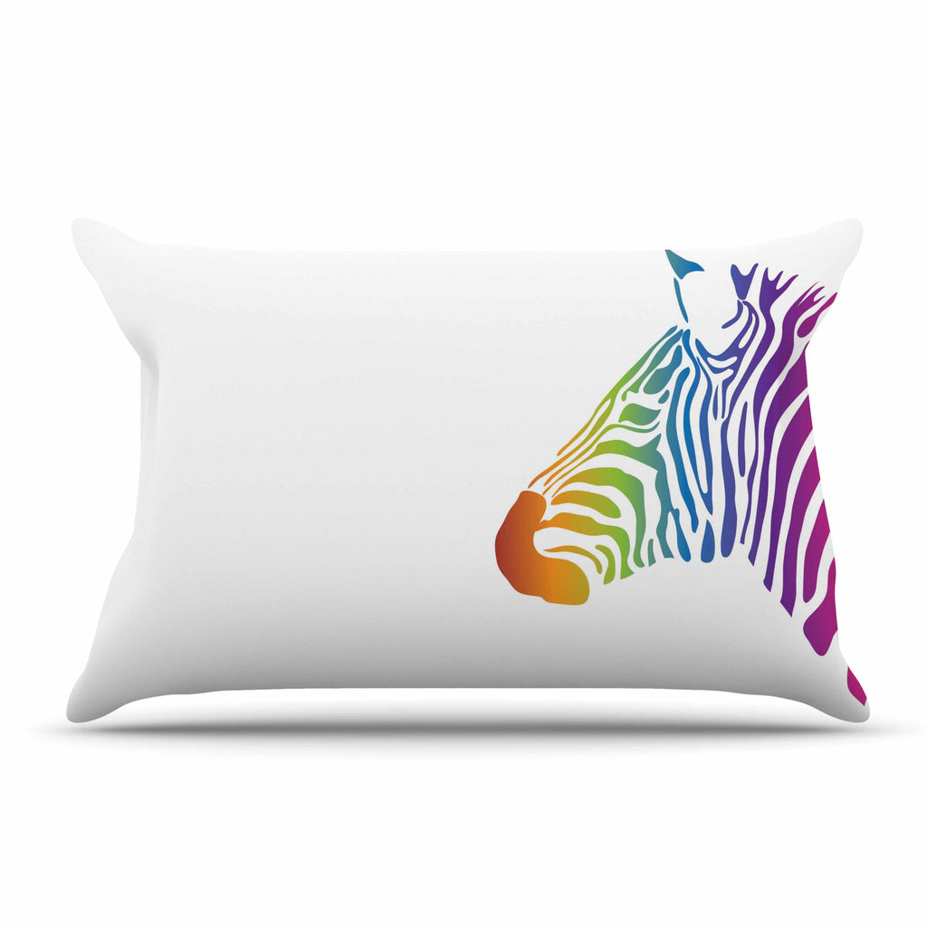 "NL designs ""Rainbow Zebra "" Multicolor Animals Pillow Sham - KESS InHouse  - 1"