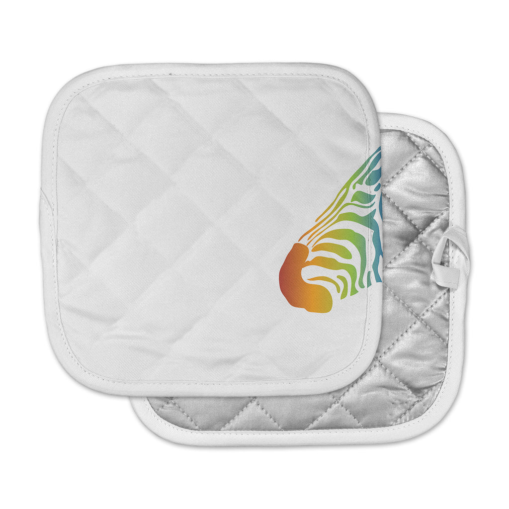 "NL designs ""Rainbow Zebra "" Multicolor Animals Pot Holder"
