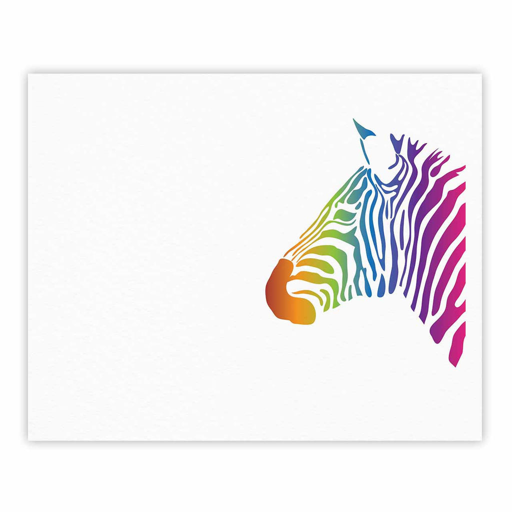 "NL designs ""Rainbow Zebra "" Multicolor Animals Fine Art Gallery Print - KESS InHouse"