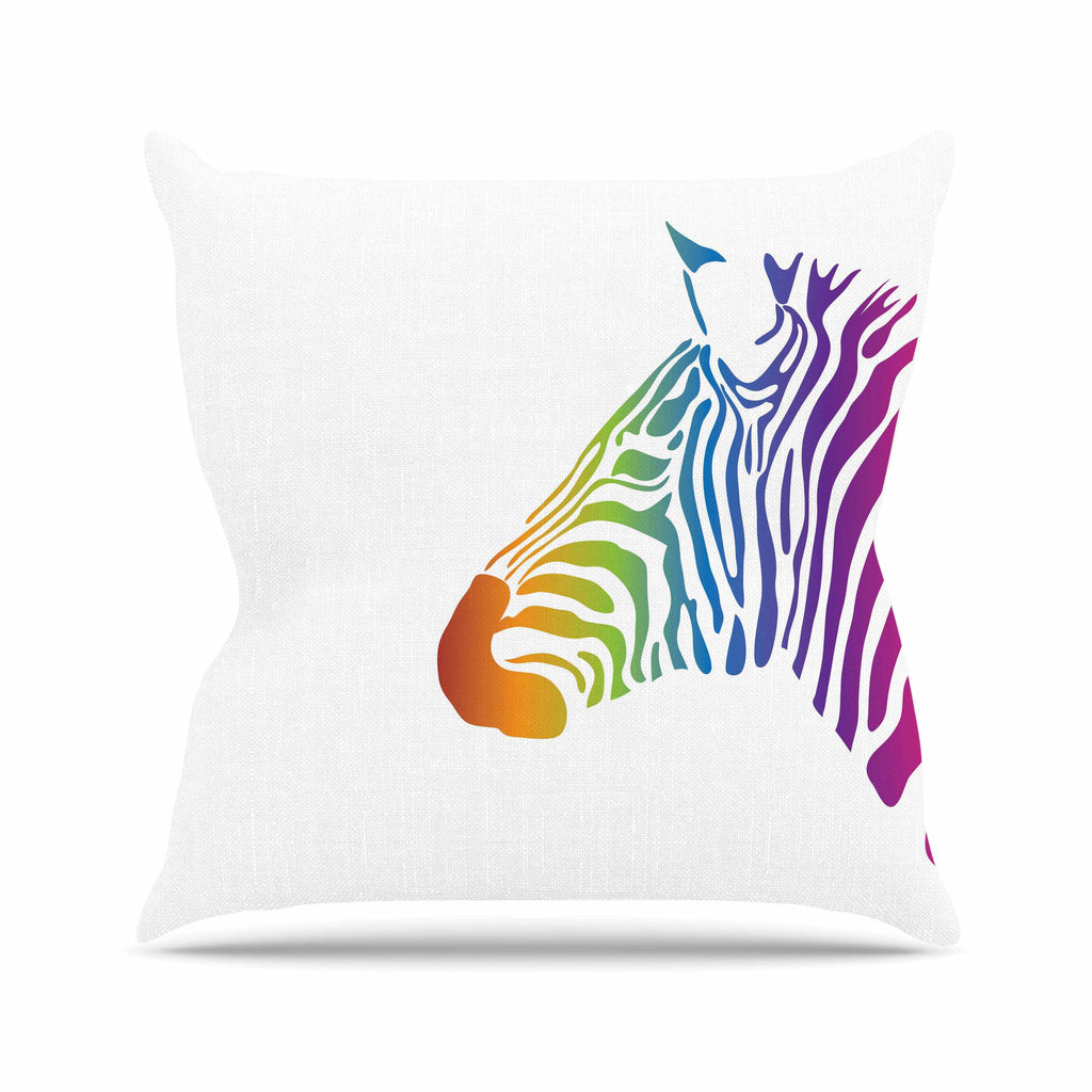 "NL designs ""Rainbow Zebra "" Multicolor Animals Outdoor Throw Pillow - KESS InHouse  - 1"
