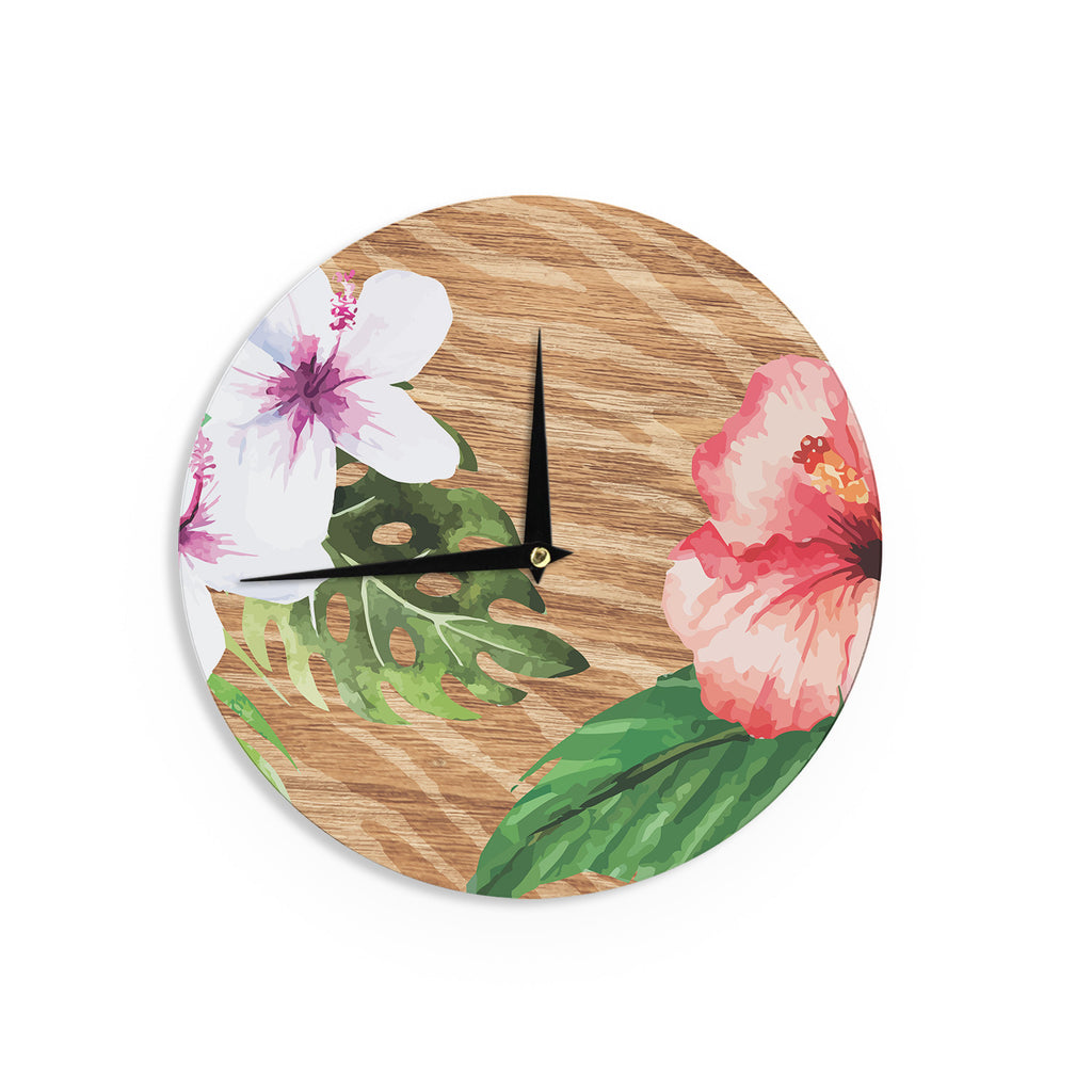 "NL designs ""Vintage Tropical Jungle "" Pink Floral Wall Clock - KESS InHouse"