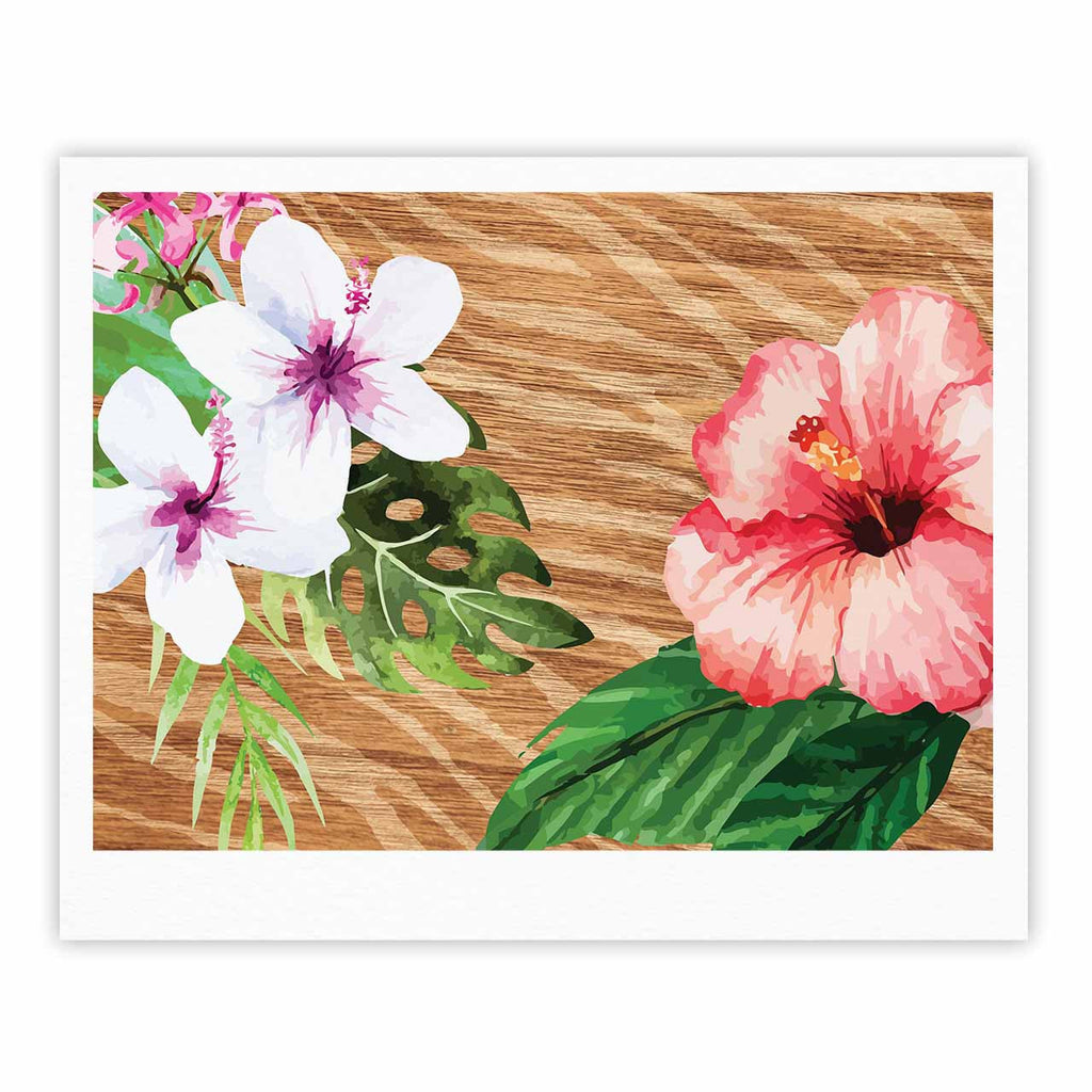 "NL designs ""Vintage Tropical Jungle "" Pink Floral Fine Art Gallery Print - KESS InHouse"