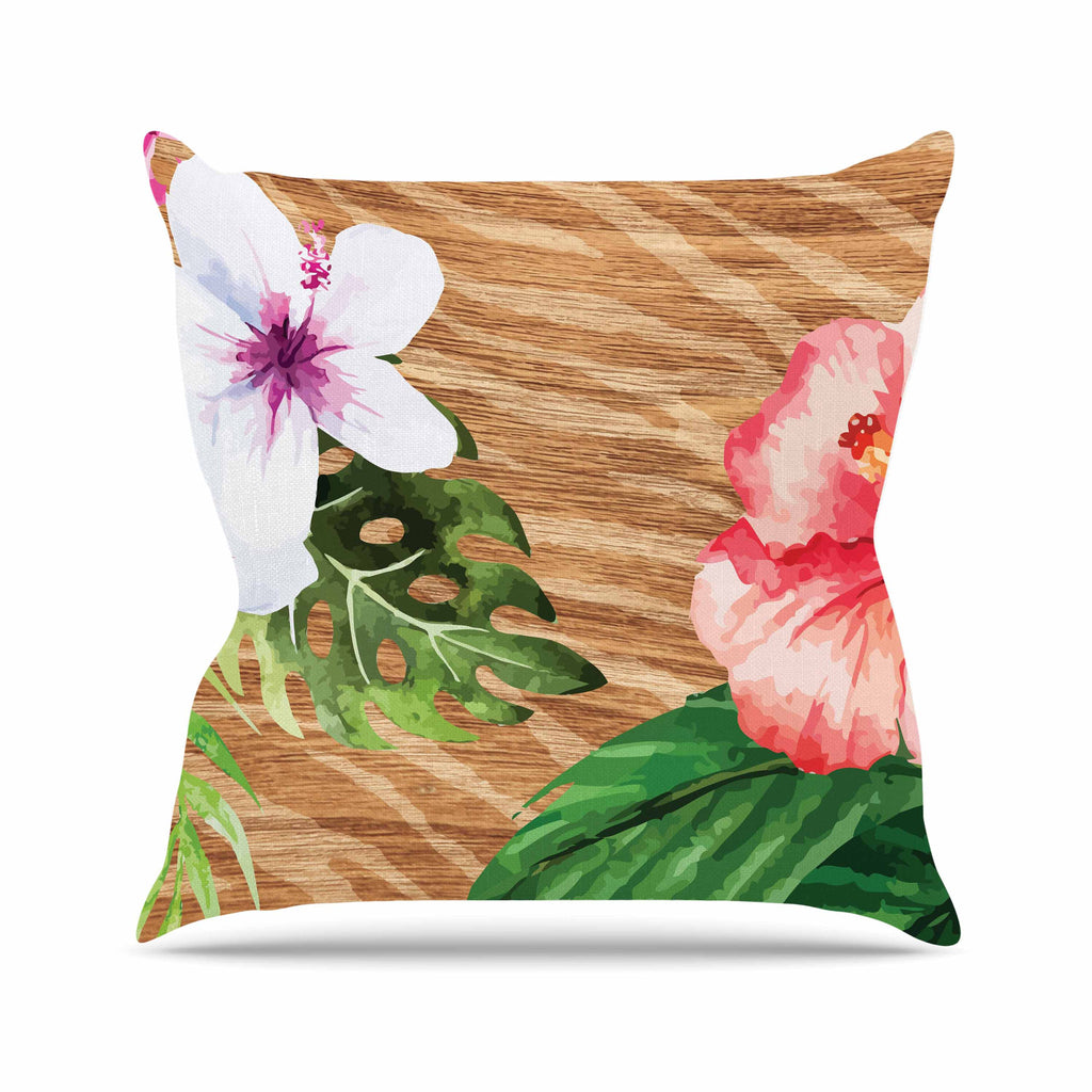 "NL designs ""Vintage Tropical Jungle "" Pink Floral Outdoor Throw Pillow - KESS InHouse  - 1"