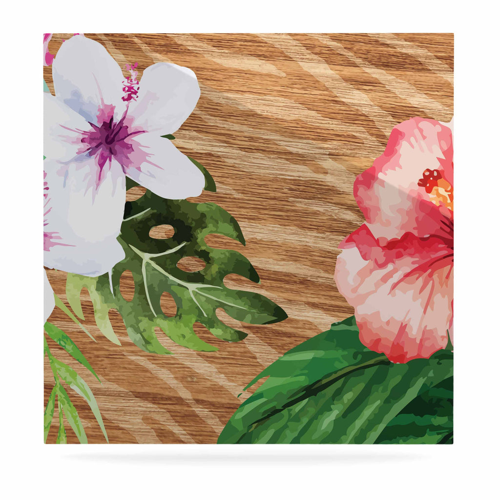 "NL designs ""Vintage Tropical Jungle "" Pink Floral Luxe Square Panel - KESS InHouse  - 1"