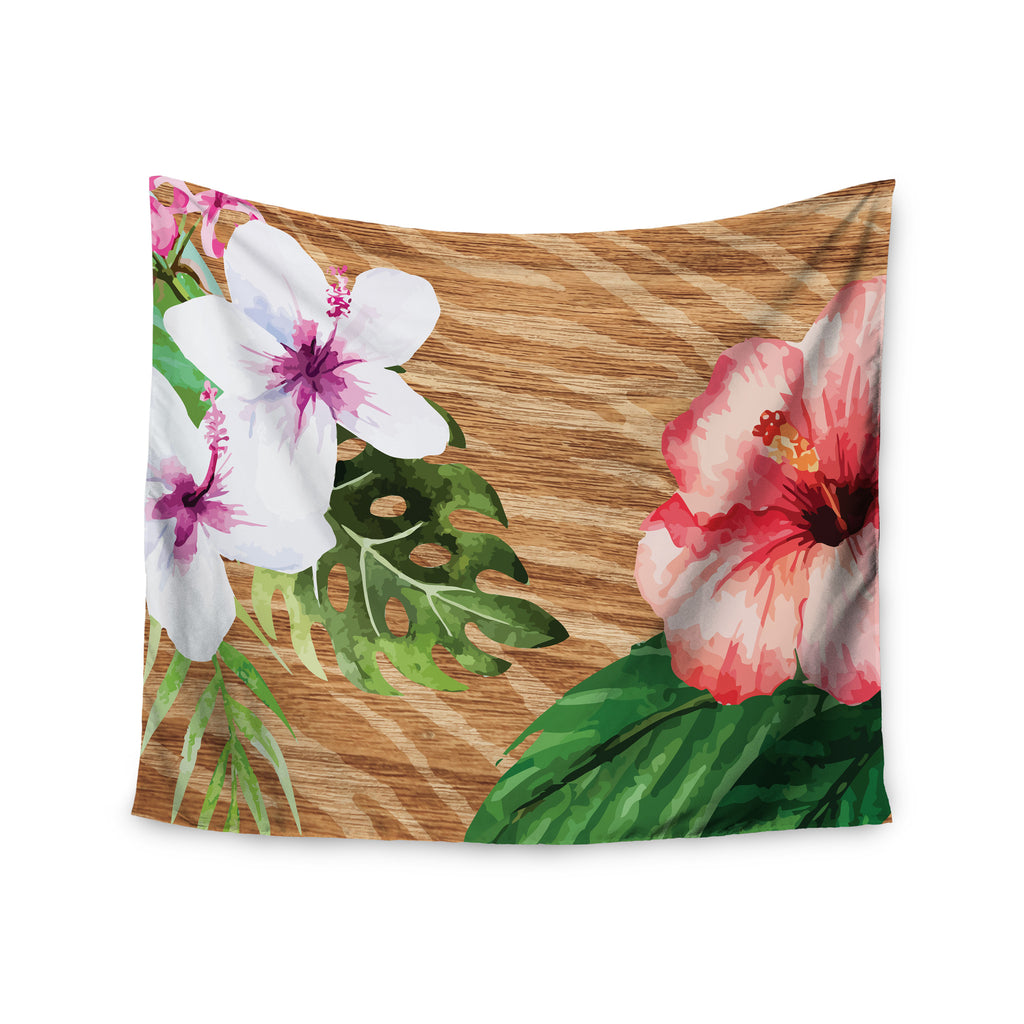 "NL designs ""Vintage Tropical Jungle "" Pink Floral Wall Tapestry - KESS InHouse  - 1"