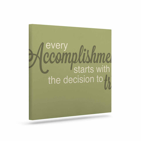 "NL designs ""Accomplishment Green"" Olive Typography Canvas Art - KESS InHouse  - 1"