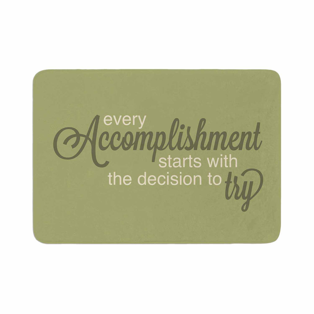 "NL designs ""Accomplishment Green"" Olive Typography Memory Foam Bath Mat - KESS InHouse"