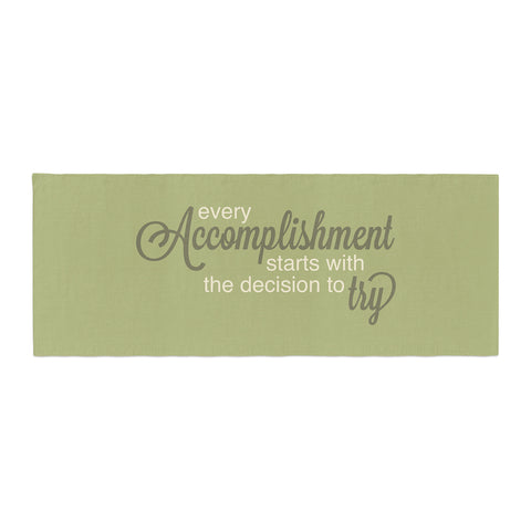 "NL designs ""Accomplishment Green"" Olive Typography Bed Runner - KESS InHouse"
