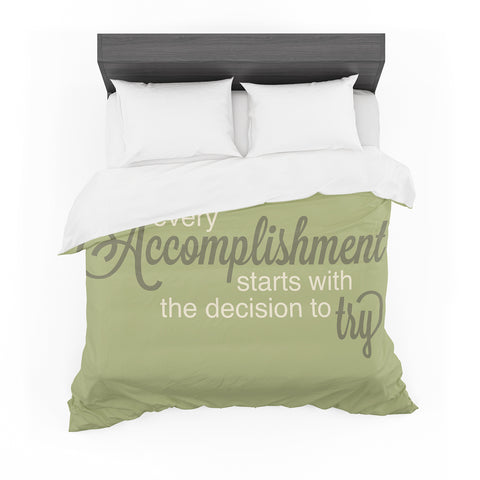 "NL designs ""Accomplishment Green"" Olive Typography Featherweight Duvet Cover"