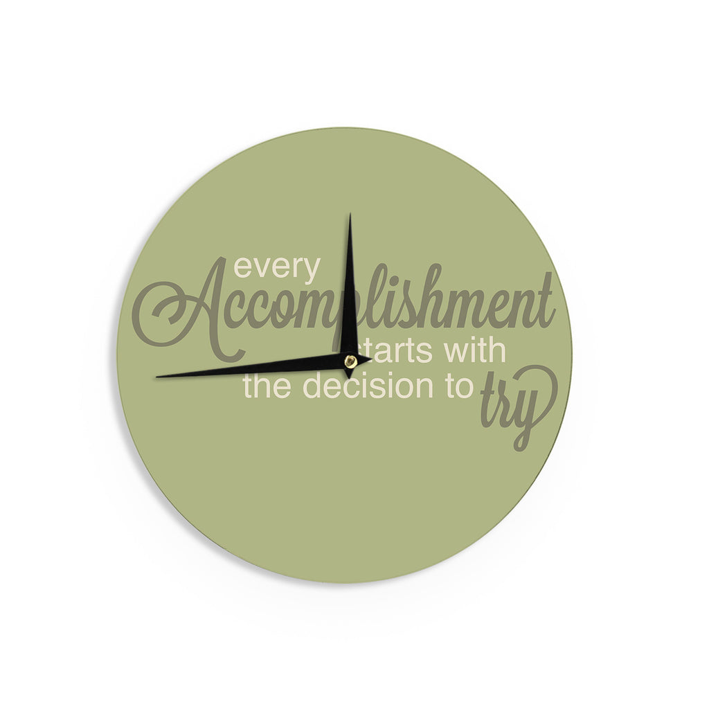 "NL designs ""Accomplishment Green"" Olive Typography Wall Clock - KESS InHouse"