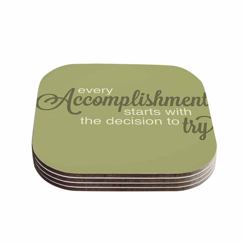 "NL designs ""Accomplishment Green"" Olive Typography Coasters (Set of 4)"