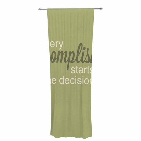 "NL designs ""Accomplishment Green"" Olive Typography Decorative Sheer Curtain - KESS InHouse  - 1"