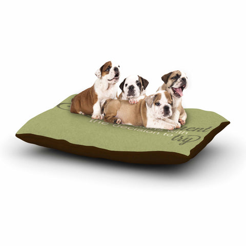 "NL designs ""Accomplishment Green"" Olive Typography Dog Bed - KESS InHouse  - 1"