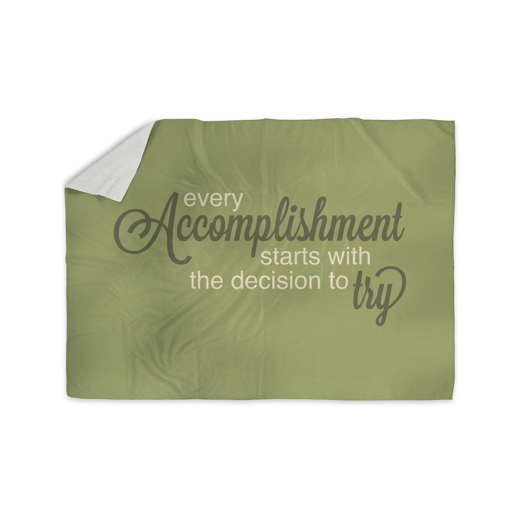 "NL designs ""Accomplishment Green"" Olive Typography Sherpa Blanket - KESS InHouse  - 1"