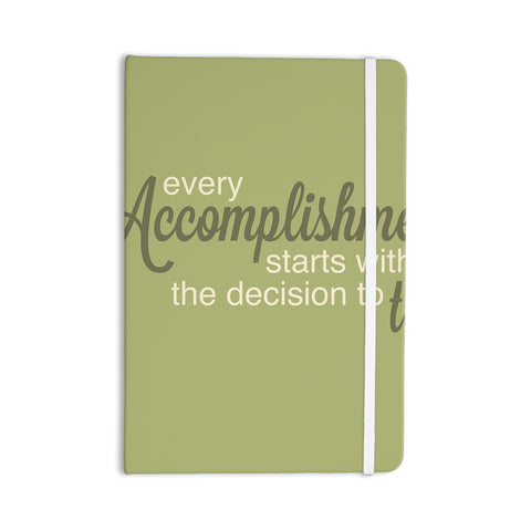 "NL designs ""Accomplishment Green"" Olive Typography Everything Notebook - KESS InHouse  - 1"