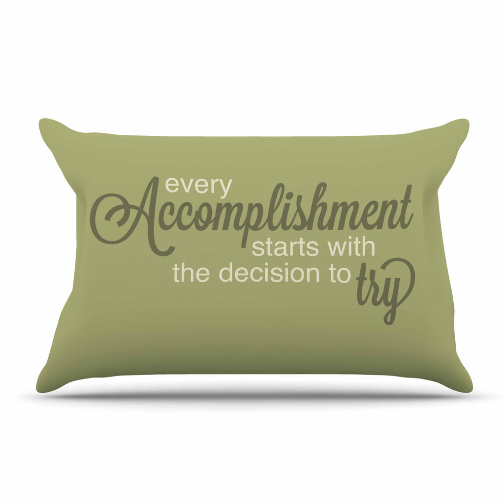 "NL designs ""Accomplishment Green"" Olive Typography Pillow Sham - KESS InHouse  - 1"