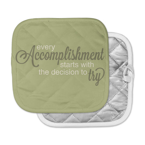 "NL designs ""Accomplishment Green"" Olive Typography Pot Holder"