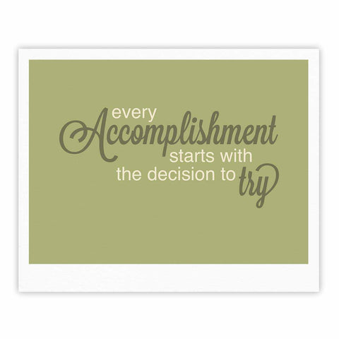 "NL designs ""Accomplishment Green"" Olive Typography Fine Art Gallery Print - KESS InHouse"