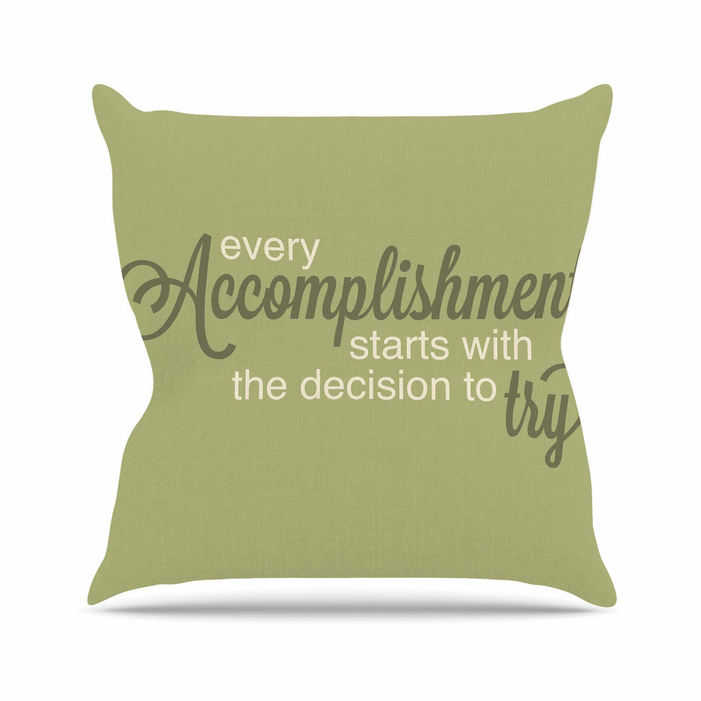 "NL designs ""Accomplishment Green"" Olive Typography Outdoor Throw Pillow - KESS InHouse  - 1"