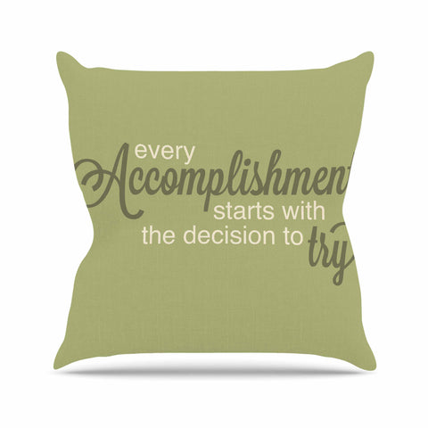 "NL designs ""Accomplishment Green"" Olive Typography Throw Pillow - KESS InHouse  - 1"